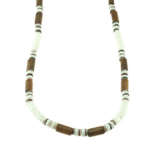 (BlueRica Puka Clam Shells Beaded Necklace with Wood Tubes & Violet Oyster Shell Beads)