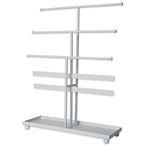 49 Tree Tower, 3 Tier Metal with Modern Look and Jewelry Organization, White ()