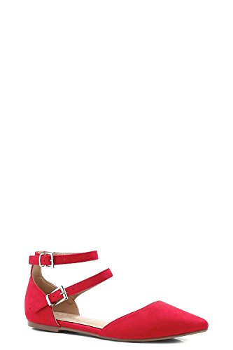 YourPrimeOutlet Womens Hope Double Strap Pointed Ballets Red