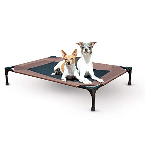 Cool Cover Bolster - K&H Pet Products Original Dog Cot, Elevated Pet Bed, Chocolate/Mesh, Large