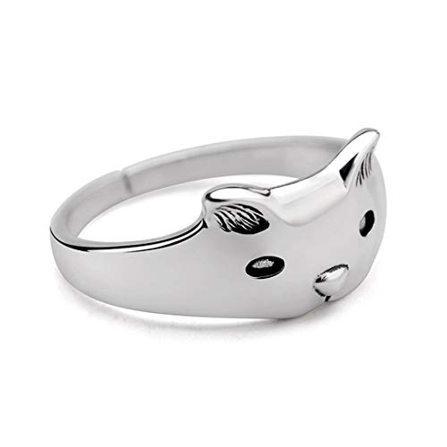 FANCIME White Gold Plated 925 Sterling Silver Cat Ears Fashion Ring for Women Girls, Size 8