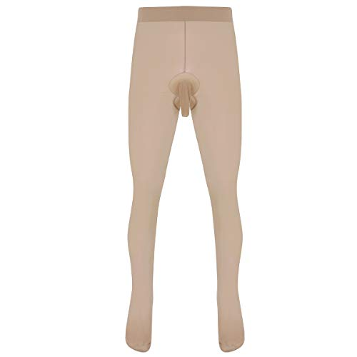 inlzdz Men's Glossy Footed Pantyhose Tights Hosiery Sheath Sleeve Stocking Seamless Lingerie Nude&Type A One Size