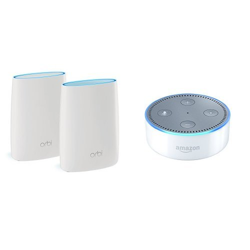 Price comparison product image Orbi Home WiFi System by NETGEAR. Better WiFi Everywhere with 3 Gigabit Speed, Tri-Band Mesh WiFi, Easy Setup, Replaces WiFi Range Extenders Bundle with All-New Echo Dot (2nd Generation) - White