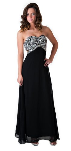 Faship Womens Crystal Beaded Full Length Evening Gown Formal (Full Length Beaded Gown)