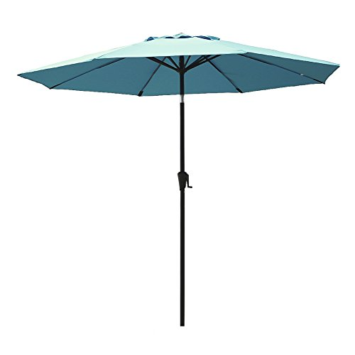 Cheap C-Hopetree 9′ Round Outdoor Patio Market Umbrella with Crank Winder, Auto Tilt, 8 Ribs with Fiberglass Rib Tips, Aqua Blue