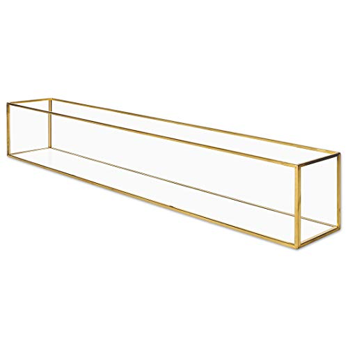 Koyal Wholesale Long Glass Candle Holder Centerpiece Box, Gold 24 x 4 x 4 Inches, Centerpiece Tray Decor, Long Wedding Table Centerpiece Decorations from Koyal Wholesale