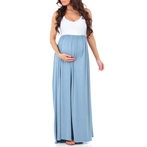 Women's Sleeveless Ruched Color Block Maxi Maternity Dress - Made in USA Sky Blue