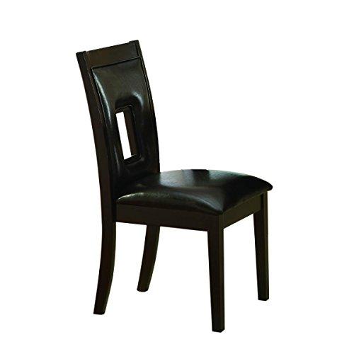 HEFX Lancelin Keyhole 2 Side Chair in Espresso & Dark Brown Bi-Cast Vinyl Cushion Seat - Side Chair Keyhole