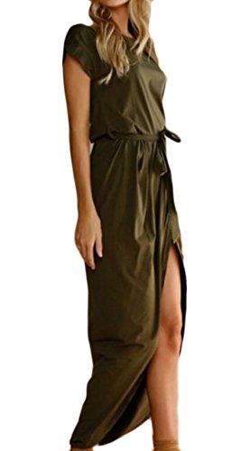 Maxi Front Women's Green Belt Short Party Cotton Dress with Split Jaycargogo Sleeve zqpAxwA0