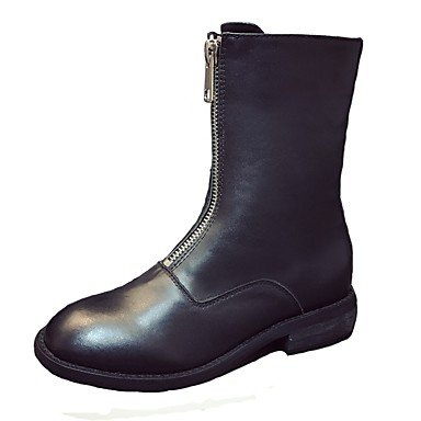 5 Toe Casual Heel US7 Black Women'S Low For Boots Round Fashion Fall Pu Zipper EU38 RTRY 5 UK5 CN38 Shoes Boots aOpqw1