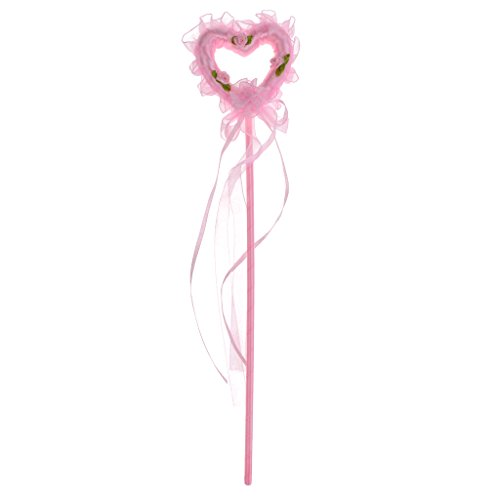 SM SunniMix Vintage Heart Princess Fairy Wand with Beautiful Ribbon for Kids Party Dress White - Pink, 14.57inch