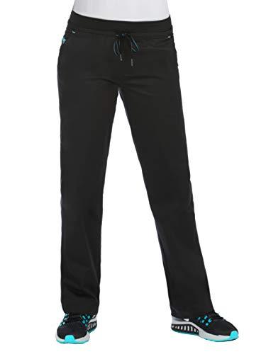 (Med Couture Signature Women's Yoga Drawstring Scrub Pant Black/Blue Crush)