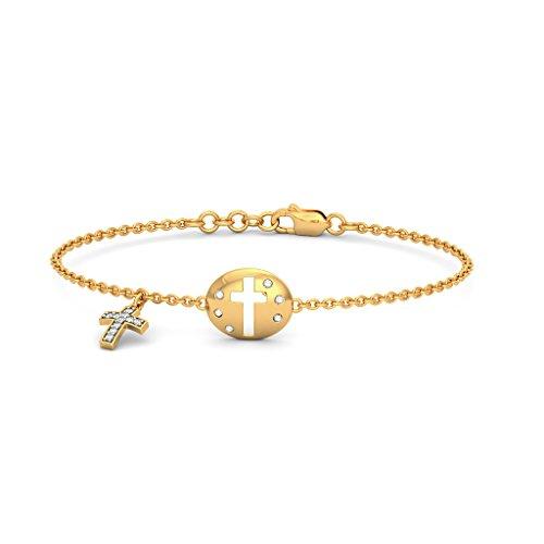 Or jaune 18K, 0.198CT TW Round-cut-diamond (Ij  SI) Identification-bracelets