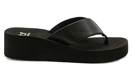 Comfortabele Damesslippers Dames Wig Platform String Sandalen Zwart