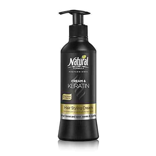 Natural Formula Professional Hair Moisturizer Cream With Pure Keratin For Volume Reduction & Glowing Curls Paraben and Sulfate Free 13.5 Fl Oz (The Best Hair Moisturizer For Relaxed Hair)
