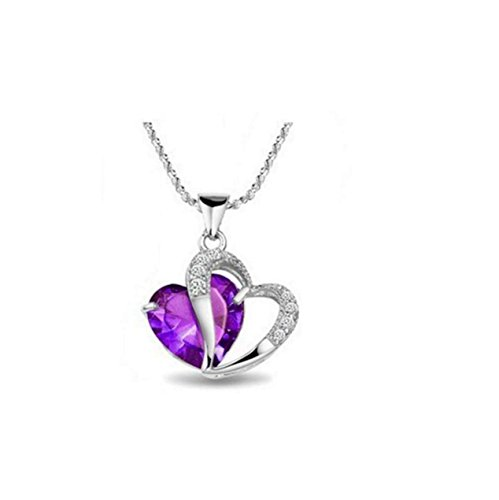 1Pc Purple- Stylish Artificial Gem Love Heart Shape Pendant Chain Necklace Valentines Gift