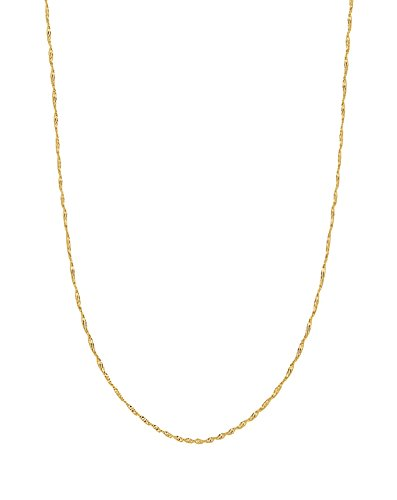 - Ritastephens 10k Solid Yellow Gold Singapore Rope Pendant Chain Necklace 20 inches 1 Mm