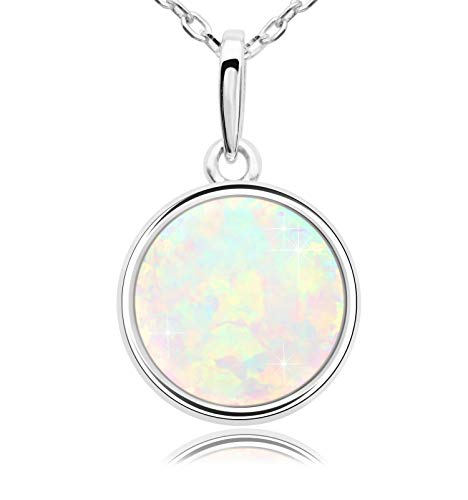- KristLand - 925 Silver Necklace Simple Style Natural Druzy Round Rainbow Stone Pendant Adjustable Chain14MM Opal