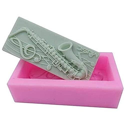 LXWLXDF-Bakvorm 3D Saxofoon ontwerp siliconen zeep schimmel, handgemaakte fondant zeep mallen, puddinchocolate cake…