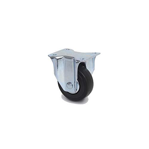 Roulette fixe diam/ètre 65 mm caoutchouc noir fixation /à platine