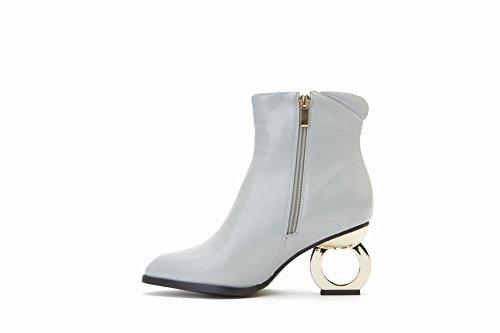 Zipper Charm Womens High Grey Pointed Foot Fashion Boots Toe Short Heel rxXqpXUn