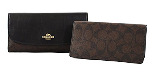 and Leather Checkbook Wallet (Brown Black) (Signature Checkbook Clutch)