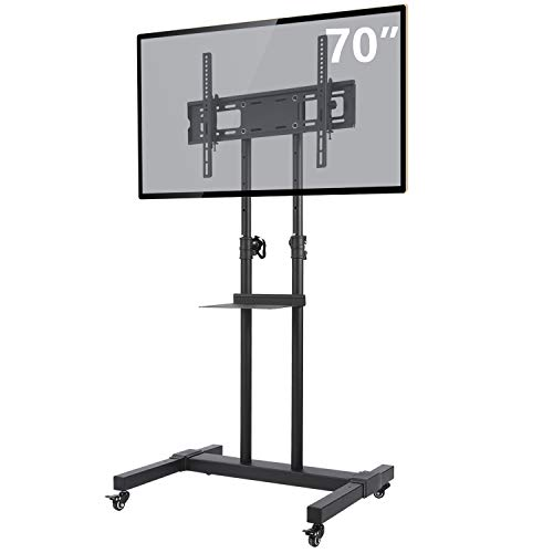 TAVR Mobile TV Stand Rolling TV Cart Display Trolley Floor Stand with Lockable Wheels Height Adjustable Mount and Shelf for 32-70 inch Flat Screen or Curved TVs TV Monitors Loading 110lbs MT1001