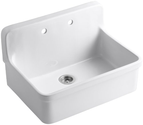 KOHLER K-12700-0 Gilford Apron-Front Wall-Mount Kitchen Sink, White