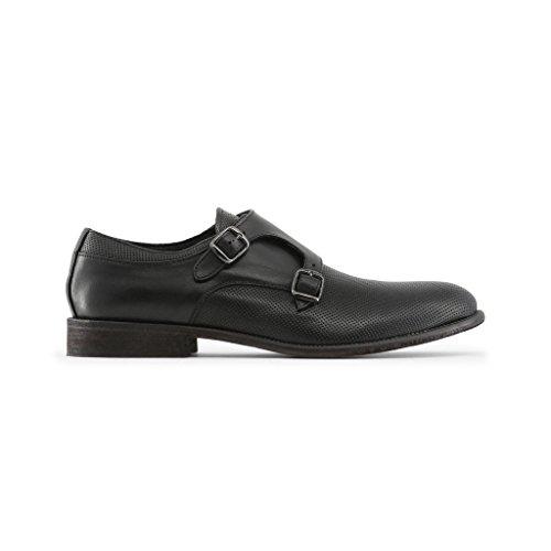 Italia Made À CELSO in Noir De Homme Sangle Pour Moine Boucle Chaussures Double ZqqwAg