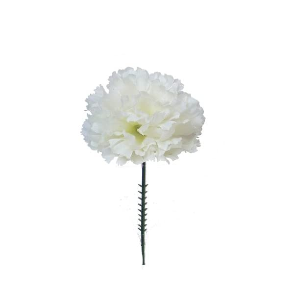 Larksilk Cream White Silk Carnation Picks, Artificial Flowers for Weddings, Decorations, DIY Decor, 100 Count Bulk, 3.5″ Carnation Heads with 5″ Stems