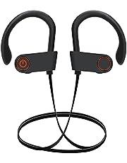 Trådlösa Bluetooth-hörlurar, sporthörsnäckor, IPX7 vattentäta stereohörlurar för gym löpning 8 timmars speltid brusreducerande headset (svart)