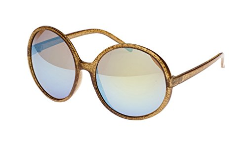 Revive Eyewear Retro Disco Stomp Glitter Frame Sunglasses (Brown, - Sunglasses Twiggy