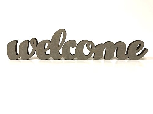 Wood Welcome Sign Made of Birch Plywood Stained Gray Welcome