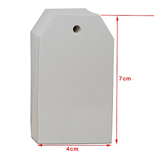 Kraft Paper Marking Decorative Tags with Hang Hole Blank Price Tags Labels Display Tags Merchandise Bonbonniere Easter Christmas Greeting Decoration Hanging Card 4x7cm (1.5x2.5 Inch) (2000 Pcs, White)
