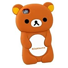 HJX 3d Brown Rilakkuma Bear Silicon Case Cover for Iphone 4 4s 4g