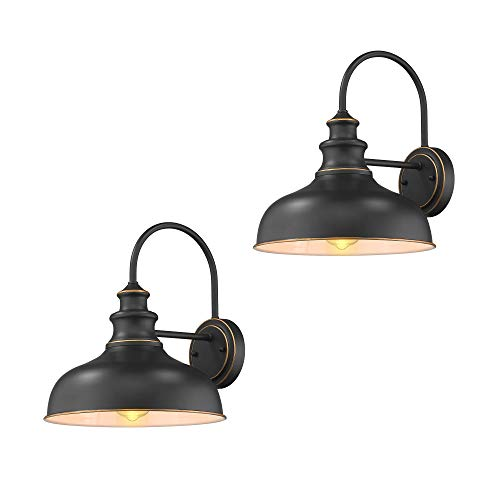 Zeyu Farmhouse Barn Light Fixture, Gooseneck Wall Sconce 2 Pack in Rubbed Oil Bronze Finish, 02A390-2 ROB