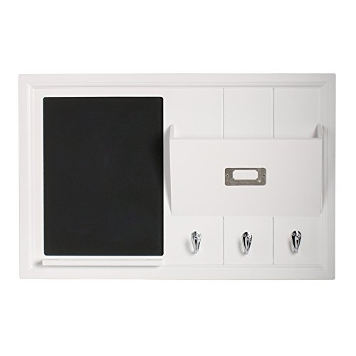 DesignOvation Dagny Decorative Home Organizer 21x14 with Chalkboard, Mail Holder, Key Hooks, White (Beadboard File)
