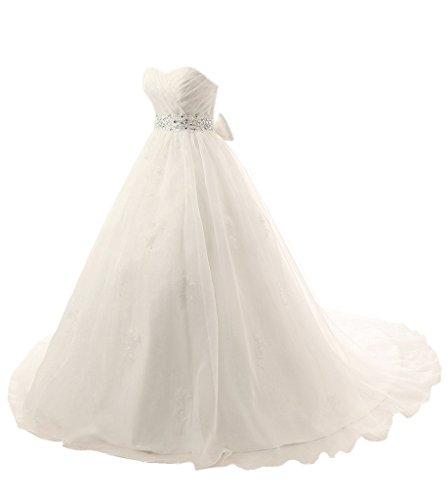 sunvary una línea Sweetheart Cuello con un lazo de novia vestido de novia blanco