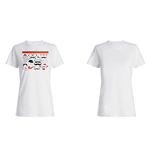 Schnurrbart-Party gesetztes lustiges Neuheitsgeschenk Damen T-shirt f521f
