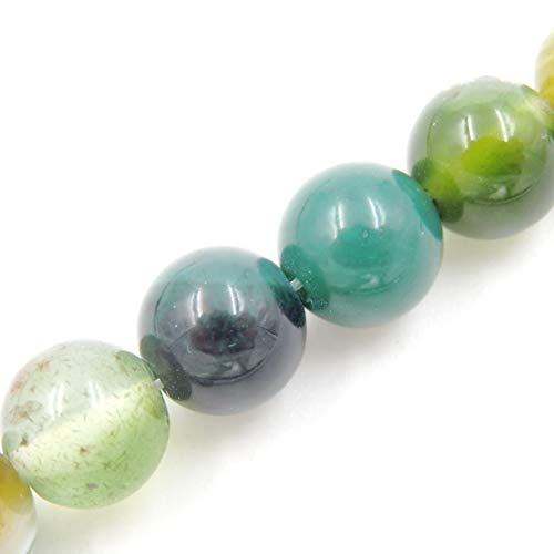 Malahill Agate Beads for Jewelry Making, Sold per Bag 5 Strands Inside, Apple Green Stripe Agate 8mm