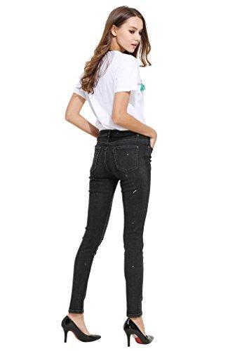 Nero Distrutti Donna Distressed Stretch Jeans Denim Zlz 2 Pantaloni xnU7qT