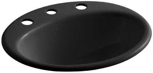 KOHLER K-2905-8-7 Farmington Self-Rimming Bathroom Sink, Black Black