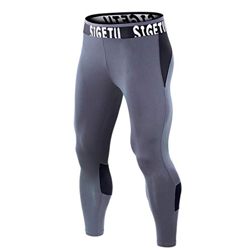 Mens Summer Fitness Patchwork Bodybuilding Skin Tight-Drying Long Sports Pants, MmNote Black