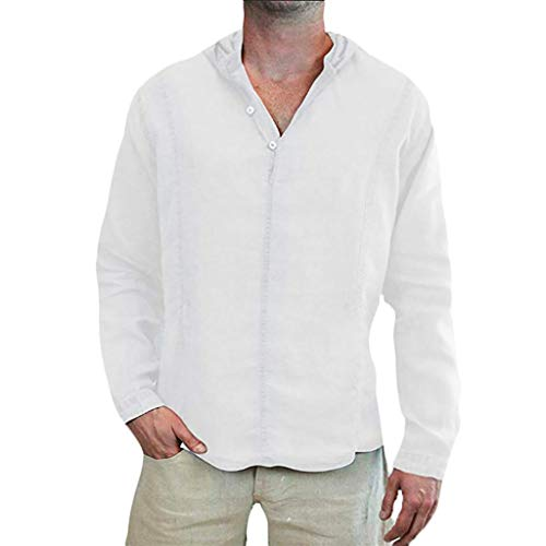 Mens Cotton Linen Shirt Loose Solid Long Sleeve Hooded Top V Neck Button Up Beach Shirt Pullover -