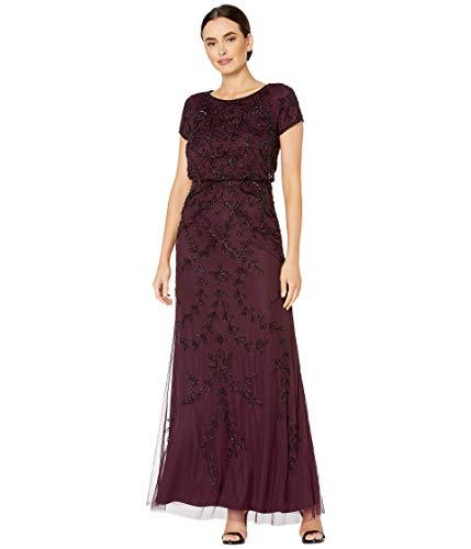 Adrianna Papell Women's Long Beaded Dress, night plum, 4