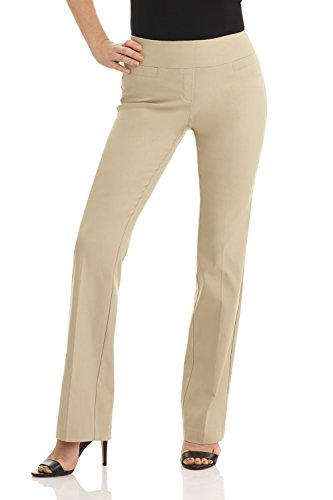 Rekucci Women's Ease in to Comfort Boot Cut Pant (6,Stone)