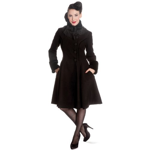 Pelo Nero 1950s Invernale Hell Angeline Retrò 1940s Vintage Sintetico Bunny Cappotto Lana qPpURIw