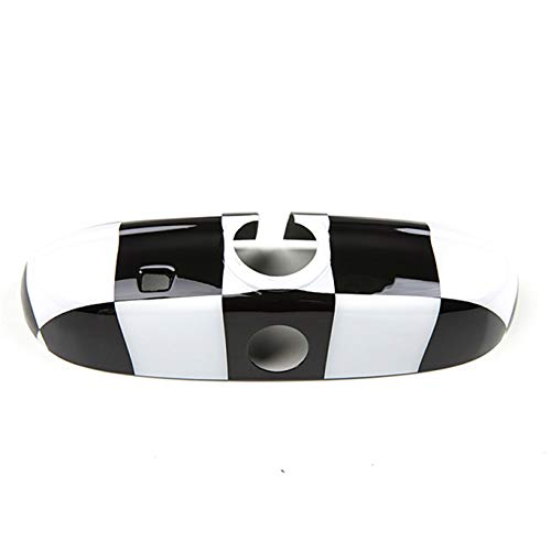 Black White Check Flag Checkered ABS Sticker Cover Trim Cap for Mini Cooper ONE S JCW F Series F55 Hardtop F56 Hatchback F57 Covertible 2016+ (Rear View Mirror Cover with Senor Hole)