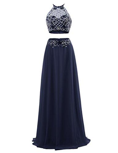 Bbonlinedress Vestido Largo Halter Atractivo Dos Piezas Con Cuentas De Gasa Azul Oscuro