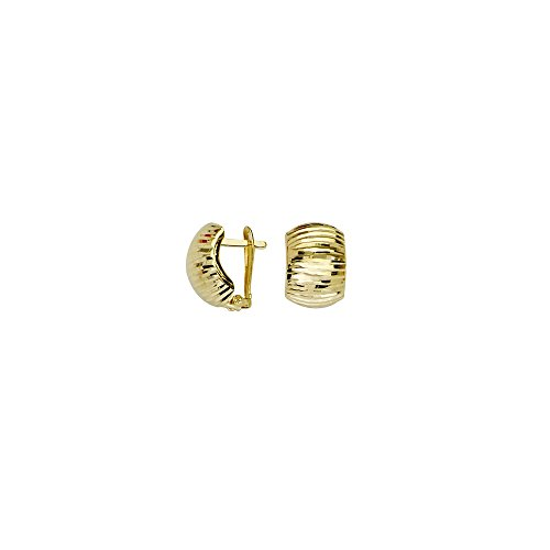 10k Yellow Gold Diamond-cut Domed Clip Back Earrings by JewelryWeb